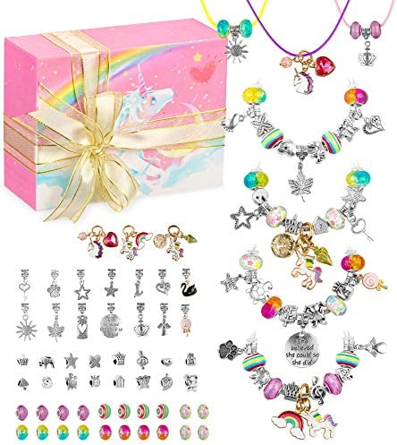 HiUnicorn DIY Unicorn Charm Bracelet Crafts Making Kit Gift for Teen Girls Colorful Jewelry product image