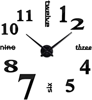 Large DIY Wall Clock, Modern 3D Frameless Wall Clock with Mirror Numbers Stickers for Home Office Living Room Bedroom Wall Decoration