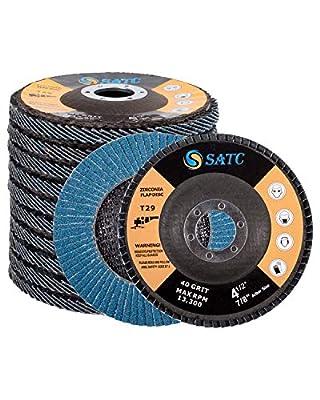 "10 Pack Flap Discs 4.5"" x 7/8"" Grinding Wheel 40 Grit Flapper Wheel for Die Angle Grinder Attachments Sanding Discs T29 Aluminum Oxide Abrasive"