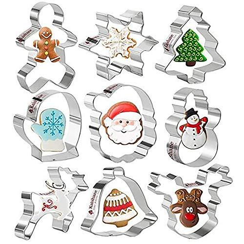 HoSayLikes Navidad 3D Cortapastas Moldes para Galletas 9 Pieza Moldes para Pasteles Bricolaje Herramientas para Hornear para Pastel Cookie Fondant Formas