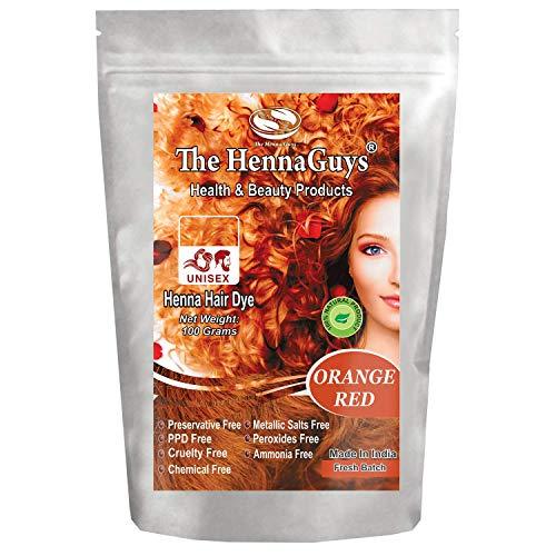 Henna Haarfarbe/Farbstoff - Gramm - Bestes Henna für Haare, natürliche Haarfarbe - chemikalienfreie Haarfarbe - The Henna Guys (1 Pack, Orange Red)