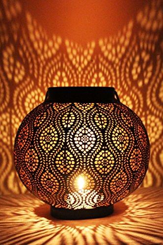 Orientalische Laterne aus Metall Bahadir Schwarz 22cm | orientalisches Marokkanisches Windlicht Gartenwindlicht | Marokkanische Metalllaterne für draußen als Gartenlaterne, oder Innen als Tischlaterne