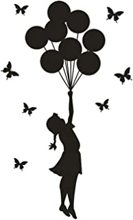 onestaring Fashion Removable Wall Sticker Silhouette Girl Balloon Butterfly Pattern Decal Home Room Decor