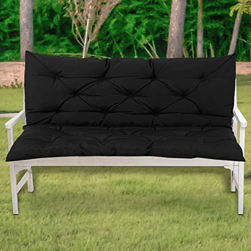 Yanman Cojín de banco para muebles de jardín con almohadilla suave para respaldo de 2 a 3 plazas, resistente al agua, para asientos reclinables de patio al aire libre, negro, 120 x 50 x 50 cm