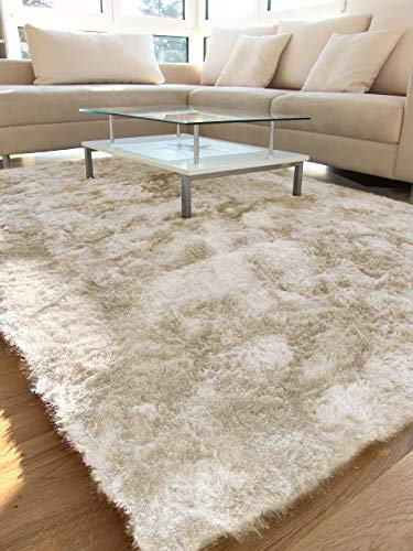 benuta Shaggy Hochflor Teppich Whisper Quadratisch Beige 150x150 cm | Langflor Teppich für Schlafzimmer und Wohnzimmer