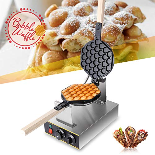 CO-Z 1400W Bubble Waffeleisen Waffle Maker 180° Drehbare Elektrische Waffelmaschine Waffelgerät Waffelmaschine Ei Waffeleisen Antihaftbeschichtet Egglettes Maker