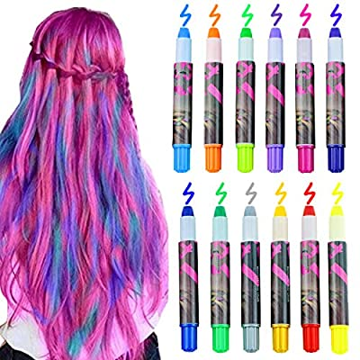 Bearbro 12 Color Temporary Hair Chalk Gift Set for Kids Colorful Temporary Portable Hair Coloring Chalk Pens Christmas Birthday Gifts Present for Girls (12 Color)