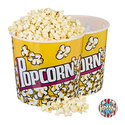 Relaxdays, gelb Eimer 2er Set, XXL Popcorn Bowl für DVD-Abend oder Party, ca. 10 L, Ø 24cm, wiederverwendbar