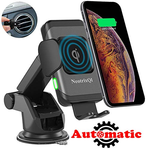 NeotrixQI Cargador Inal/ámbrico Coche Qi Sujeci/ón Autom/ática Carga Rapida Movil Inalambrico Soporte Accesorios para iPhone XS MAX//XR//X//8 Plus,Samsung Galaxy S10//S9//S8//S7//S6,Huawei Mate 20 Pro