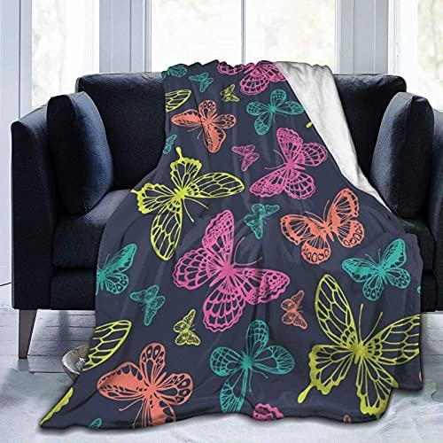 Manta de Felpa Suave Cama Patrón de Mariposas Manta Gruesa y Esponjosa Microfibra, Suave, Caliente, Transpirable para Hogar Sofá , Oficina, Viaje