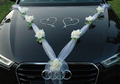 ORGANZA M + HERZEN Auto Schmuck Braut Paar Rose Deko Dekoration Autoschmuck Hochzeit Car Auto Wedding Deko Ratan Girlande PKW (Ecru/Weiß/Weiß)