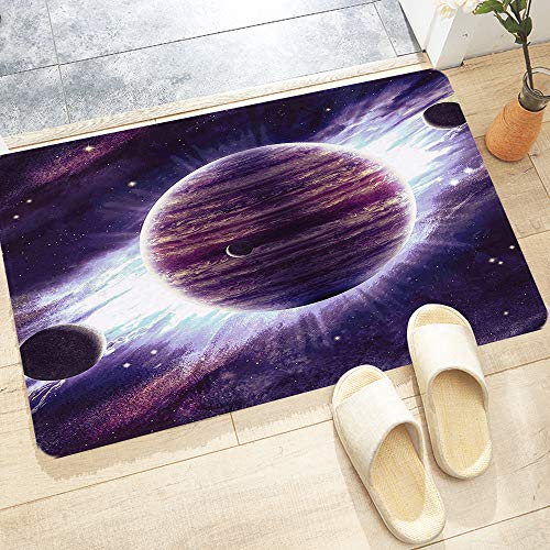 Badematte, rutschfest Waschbar Badezimmerteppich 60X100 cm, Galaxie Weltraumthema Planeten Saturn Mars und Neptun Science-Fict,Trocknend und Schimmelresistent Badteppich für Badezimmer, Küche, Schnell