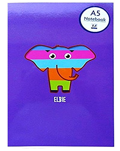 A5 Rascals Elbie Elephant Lined Paper Notebook with Elastic Retainer Purple 160 Pages