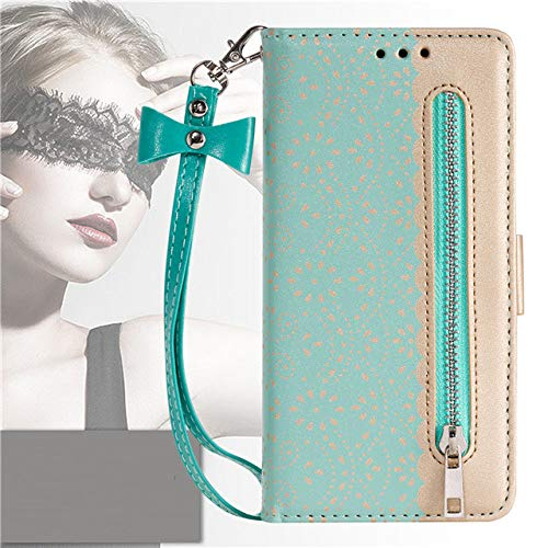 for iPhone 12 Mini 11 Pro XS MAX XR X 6 6s 7 8 Plus SE 2020 Zipper Wallet Luxury Card Slot Flip Phone Pouch Case,Green,IP 11Pro 5.8inch