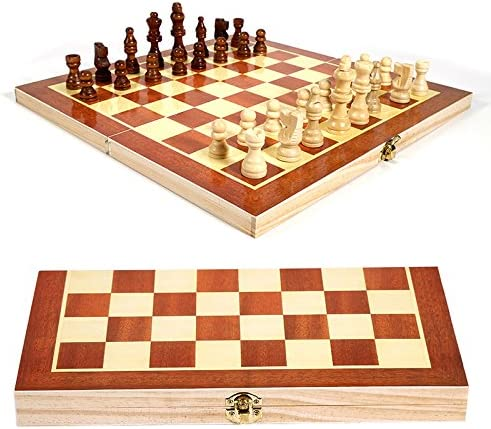 Elegant YTRN Chess Set Games 34X34CM At the price of surprise Folding Foldable Wooden Inter
