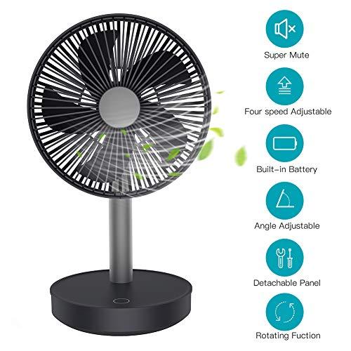 Ventilatore USB Portatile Silenzioso 13dB Ventilatore da Tavolo Potente Ricaricabile 4000mah 4 Velocità Circolazione Aria Angolo Regolabile 120°per Casa, Ufficio, Auto, Viaggio All'aperto