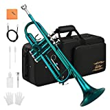 Eastar Standard Bb Sky Blue Trumpet Set for Student Beginner Brass Instrument with Hard Case, Gloves, 7 C Mouthpiece, Valve Oil and Trumpet Cleaning Kit, ETR-380SB (Sky Blue)