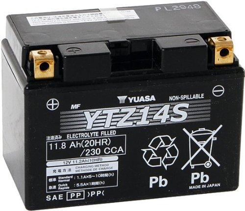 YUASA Motorrad-Starterbatterie Typ YTZ14S für Honda VFR 1200 F (ABS) DCT (Doppelkupplungsgetriebe), Bj. 2010-2013 (Fahrgestellnr.: SC63) inkl. gesetzlichem Batteriepfand von EUR 7,50