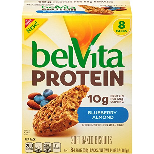 belVita Protein Blueberry Almond Soft Baked Biscuits, 8 Count Box, 14.08 Ounce