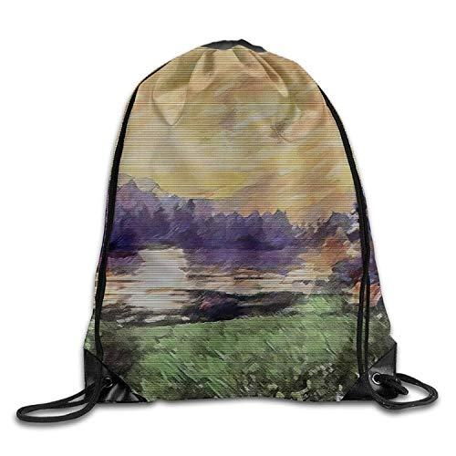 JIMSTRES Gym Drawstring Bags Landscape Painting Art Draw Rope Shopping Travel Backpack Tote Student Camping