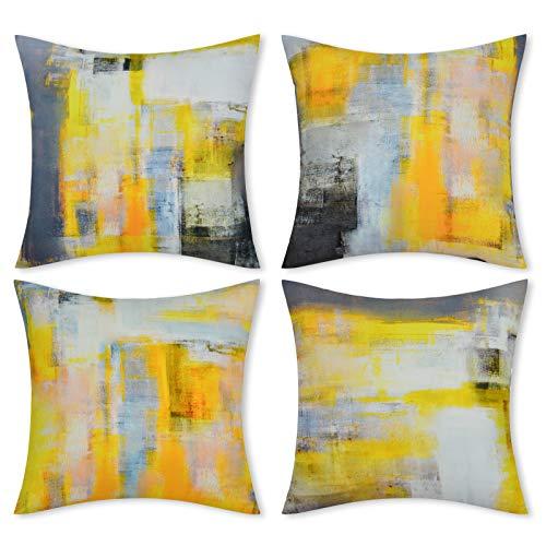Alishomtll Juego de 4 fundas de cojín de 45 x 45 cm, suaves, decorativas, juego para sofá o dormitorio, color amarillo y gris