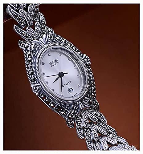 CDPC Reloj Vintage para Mujer Joyas de Plata de Ley 925 Peugeot Reloj de Pulsera Redondo pequeño para Mujer con Pulsera de eslabones