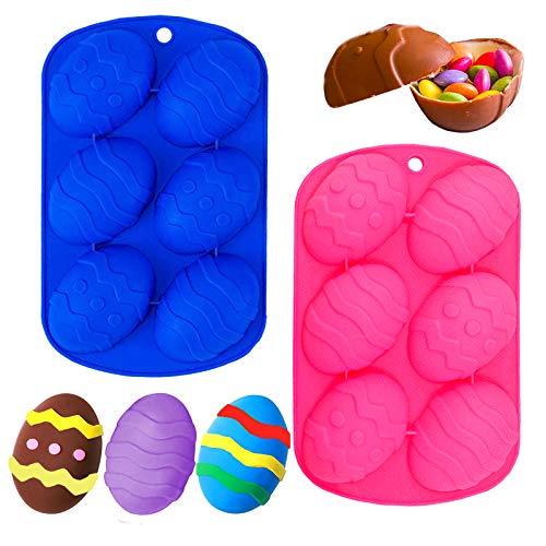IHUIXINHE 2 Stück Osterei Silikonformen, für Diy Kuchen Candy Schokoladengelee Fondant Herstellung, Eiswürfelschalen Backformen, Kakaobomben, Ei Schokoladenschalen