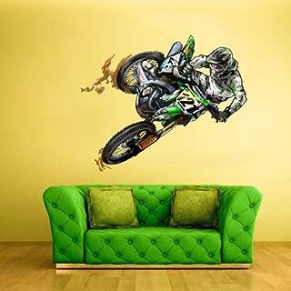 Full Color Wall Decal Mural Sticker Decor Art Dirt Bike Moto Motorcycle Motocross Biker Dirty (Col309)