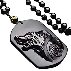 c1lint7785631 pure Hand Carved Natural Genuine Obsidian Howling Wolf Head Amulet Necklace Pendant