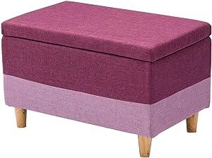 Dall Fußhocker Polsterhocker Aufbewahrung Sofa Hocker Holzrahmen Schuh Bench Multifunktional Platzsparend Abnehmbare Wäsche (Farbe : Lila, größe : 75×40×42cm)