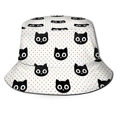 SPACEMASKS Sombrero plegable de lona para niños con diseño de gatos negros y naranja en lunares para viajes de primavera y verano