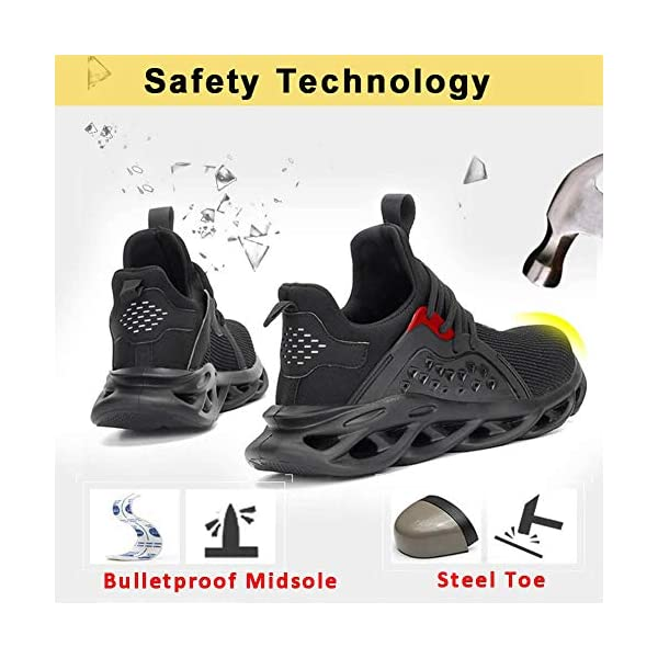 ziitop Mens Womens Steel Toe Shoes Indestructible Safety Shoes Lightweight Non-Slip Composite Toe Work Shoes Industrial Construction Shoes