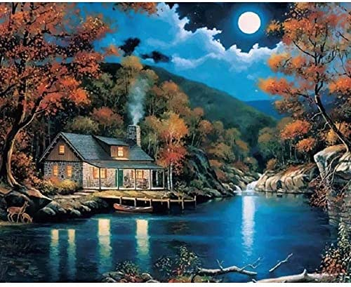 SKUDGEAR Unframed DIY Oil Painting - Paint by Numbers for Kids and Adults Beginners 40cm * 50cm (Moonlight Cottage)