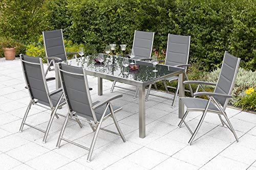 gartenmoebel-einkauf Gartengarnitur Ferrara 7-teilig, 6X Hochlehner und 1x Ausziehtisch 180/240x100cm, Edelstahl