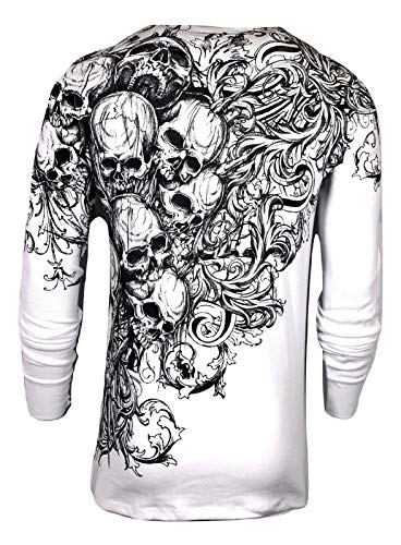 Xtreme Couture by Affliction Mens Thermal T-Shirt Accuser Skull Biker MMA Gym$58 (L) White