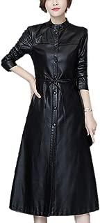 DISSA P8108 Women Faux Leather Long Overcoat Slim Coat Leather Jacket