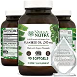 Natural Nutra Organic Flaxseed Oil Softgels, Plant Based Omega 3 6 9, Hair Growth, Weight Loss Support, Immune System, Cardiovascular Health Supplement, Flush Harmful Toxins, 1000 mg, 90 Capsules