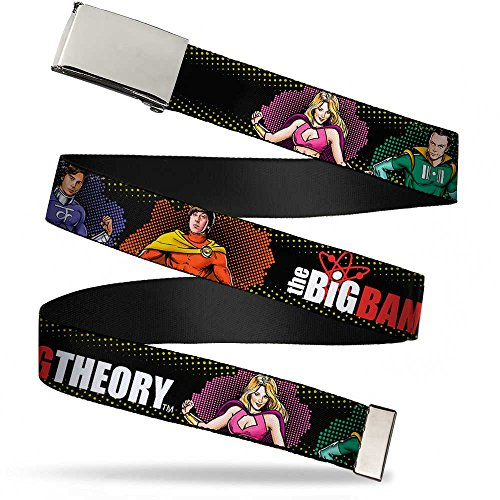 Buckle-Down unisex-adult's Web Belt Theory1.25, THE BIG BANG THEORY Superhero Character Poses Black, 1.25' Wide-Fits up to 42' Pant Size