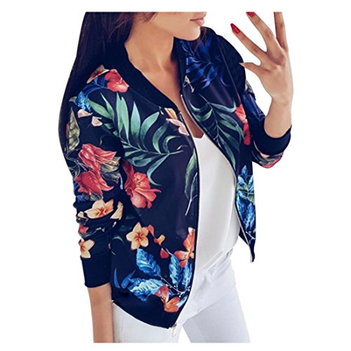 Damen Frühling Jacke FORH Frauen Elegant Blumenmuster Bedruckte Baseball Mantel Mode Stehkragen Langarm Bomber Jacke Kurz Cardigan Reißverschluss Sommerjacke (Blau , S)