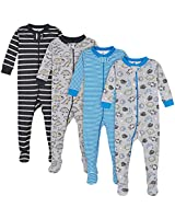 Gerber Baby Boys' 4-Pack Footed Pajamas, Dinosaurs Space Grey, 6 Months