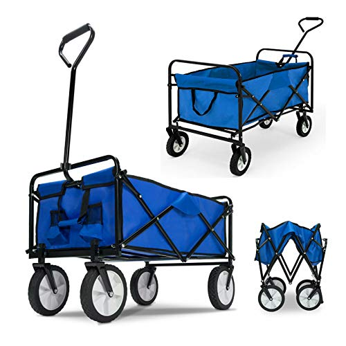 Huini Faltbarer Bollerwagen Handwagen Klappbar Gartenwagen Transportwagen Strandwagen bis 80kg belastbar Abnehmbarem Stoff für Vatertag Einkaufen,Blau, ohne Dach