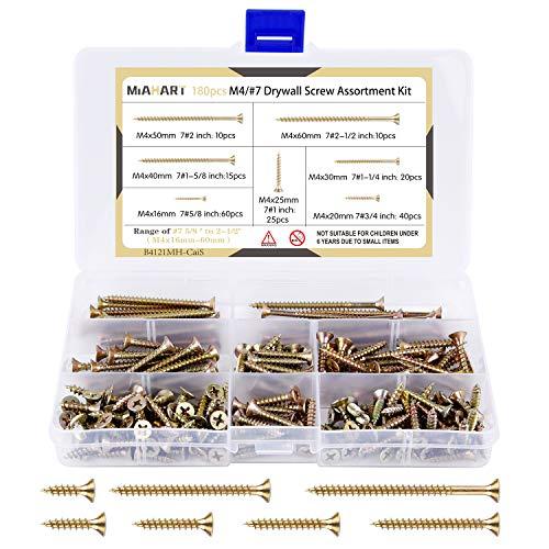 MIAHART 180 piezas M4 Tornillos para paneles de yeso con revestimiento de zinc Rosca de surtido Tornillos autorroscantes de punta afilada Tornillos para paneles de yeso
