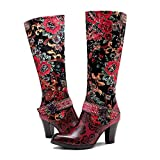 CrazycatZ Womens Leather Bohemian Knee High Boots Splicing Floral Block Heel Patterned Long Boots (Red, numeric_10)