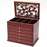 Joyero con cajón de madera para pulseras, pendientes, collares, anillos y broches, maletín de madera y franela, color marrón