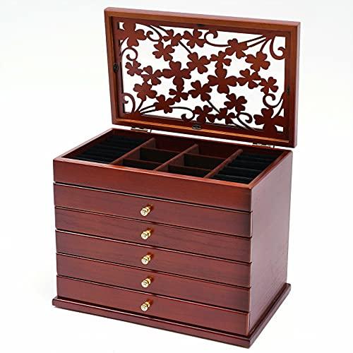 Joyero de 6 capas para joyas, tallado de flores, caja de cosmética, caja de madera tallada, color marrón para anillos, pendientes, collares, organizador con cajón