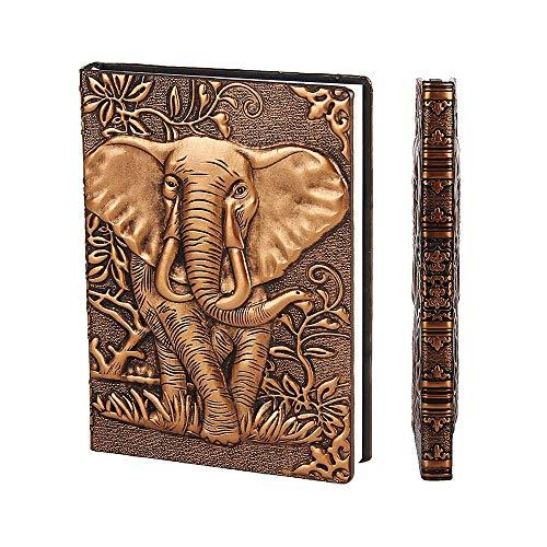 YHH Vintage Notizbuch A5 Hardcover PU Leder Liniert Tagebuch Reisetagebuch Zum Selberschreiben Notizheft Travel Journal Buch Geburtstaggeschenk für Mädchen Männer Kinder Jungen Erwachsene 3D Elefant