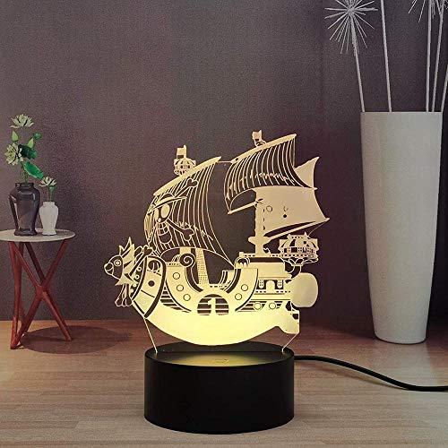Lámpara de ilusión de luz de noche Led 3D de ilusión USB Anime japonés mono alegre · D · Luffy barco decoración de dormitorio niño niño adolescente