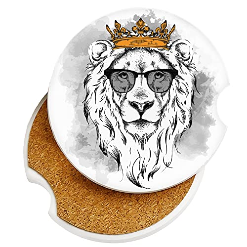 Absorbent Cute Car Coasters 2 Pack for Cup Holders, 2.56' Ceramic Stone Cork Base Drink Coasters Lion Wearing Crown