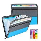 Clasificadora Carpeta de Acordeon, A4 Organizador de Archivos Portátil Documentos de Cremallera Clasificador con 13 Compartimientos y Etiqueta de Color (azul)