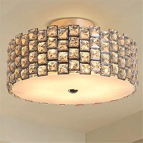 Plafoncino pendente Pendente vintage cristallo parasole cromato in acciaio inox round lampada da soffitto a filo LED 5W caldo bianco caldo illuminazione da soffitto da soffitto per soggiorno camera da